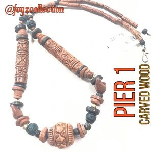 Eco Friendly Carved wood necklace Pier 1